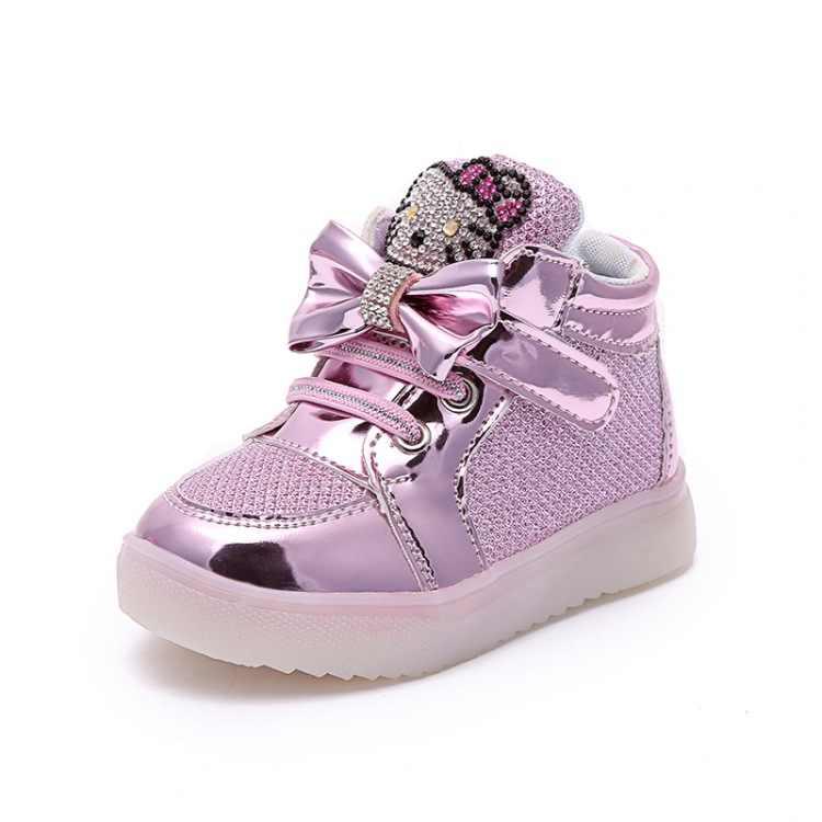 2019 LED เรืองแสงเด็กแฟชั่นรองเท้าสั้น Hello Kitty คุณภาพสูงเจ้าหญิงรองเท้านุ่มลื่นสบายรองเท้าผ้าใบ