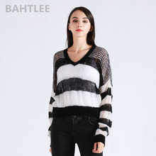 цена на BAHTLEE sprin autumn WOMEN'S Top of Mohair pullovers sweater Knitted V-neck short style Long Sleeves Coat black and white