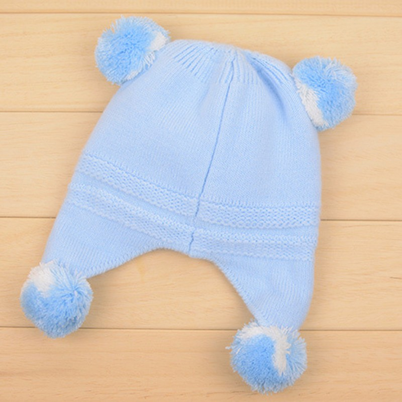 Bear Baby Hat Cotton Infant Caps Warm Ear Boys Beanies Thick Winter Girl Hats Autumn Toddler Cap With Pompom Accessories Newborn (3)