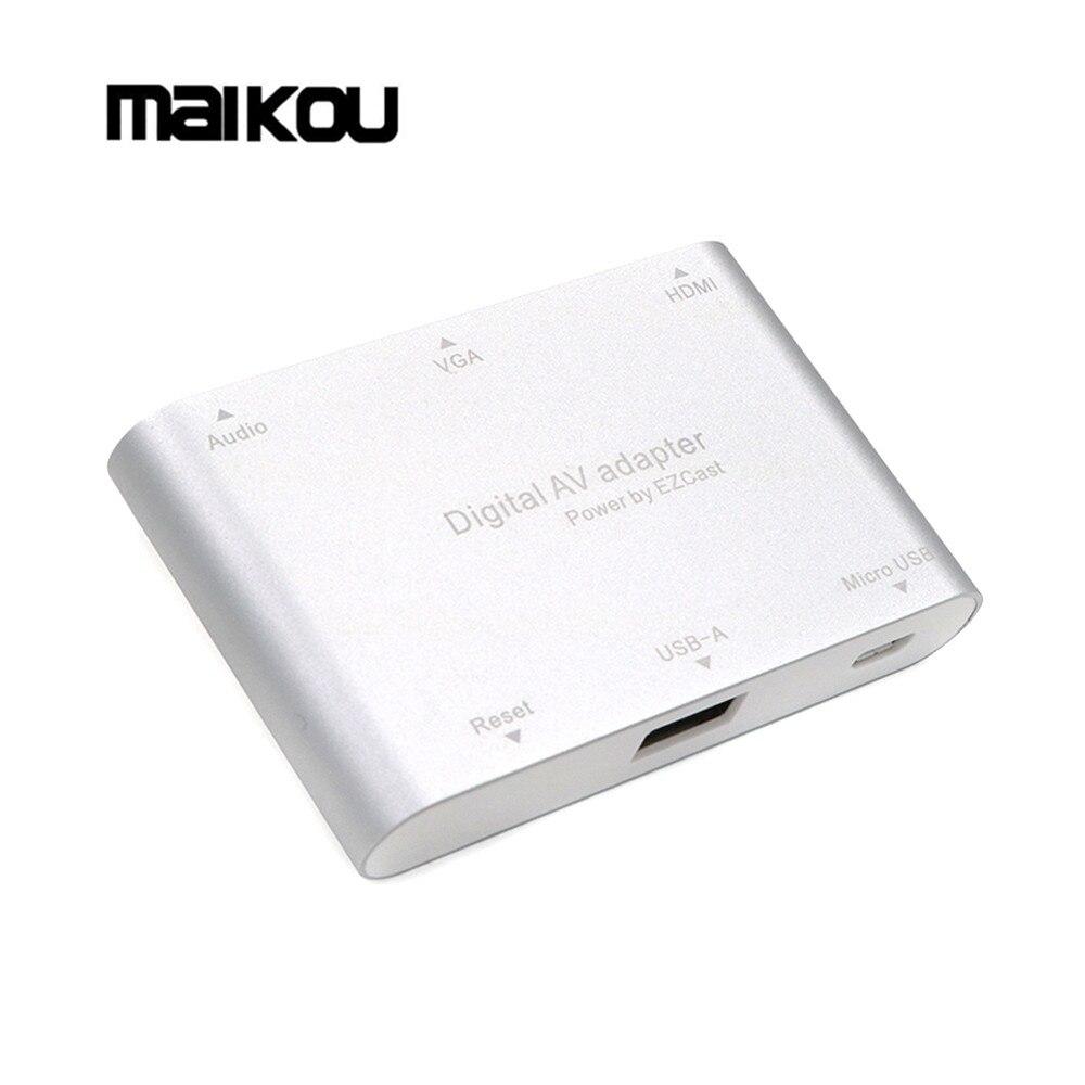 Maikou HDMI VGA Adaptateur Vidéo Téléphone à la TÉLÉVISION Projecteur Convertisseur Audio Pour iPad Pour iPhone 7 8 PLUS 6 6S 5s Samsung S8 S8 + S9 S9 +