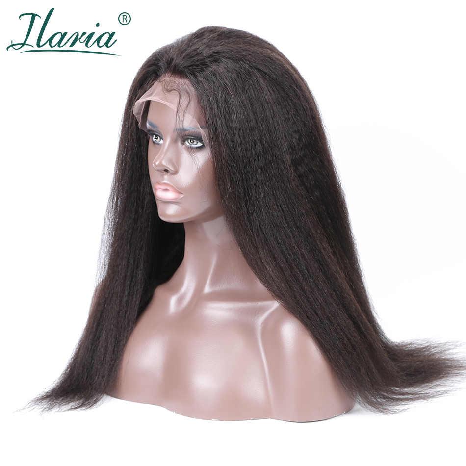 ILARIA Kaba Yaki Tutkalsız Dantel Ön İnsan Saç Peruk Siyah Kadınlar Için Kinky Düz Saç Tam 360 Dantel Ön Peruk bebek Saç