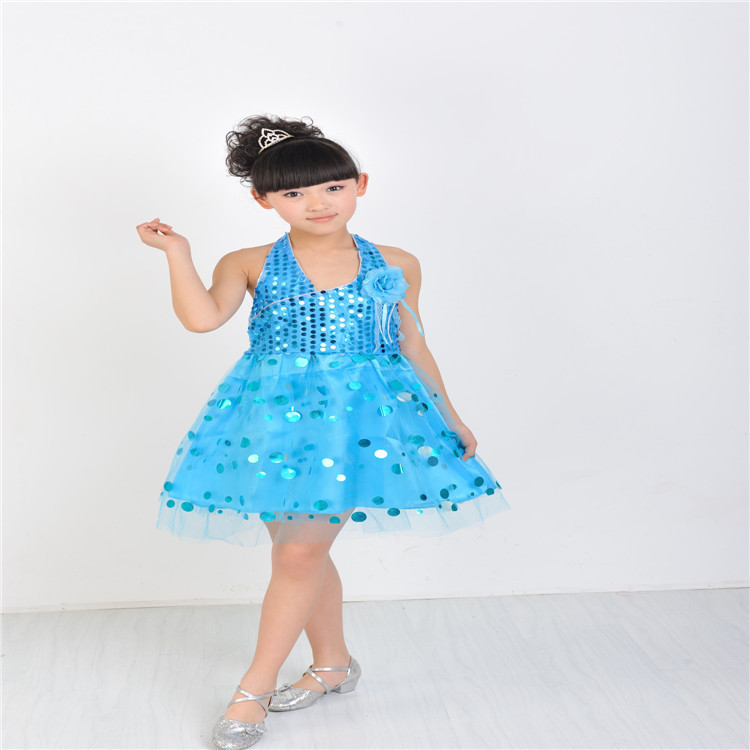 Children Kids Sequins Fringe Stage Performance Yarn Dress Ballroom ...