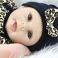 22 Polegada de Silicone Macio Renascer Baby Girl Boneca Bonecas Recém-nascidos À Procura Real Vestindo Roupas de Leopardo Crianças Aniversário Do Presente Do Feriado