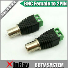 Free Shipping 10pcs BNC Female TO 2 Pin,Camera DVR Connector Adapter,CCTV Accessories ,Wholesale XR-AC25
