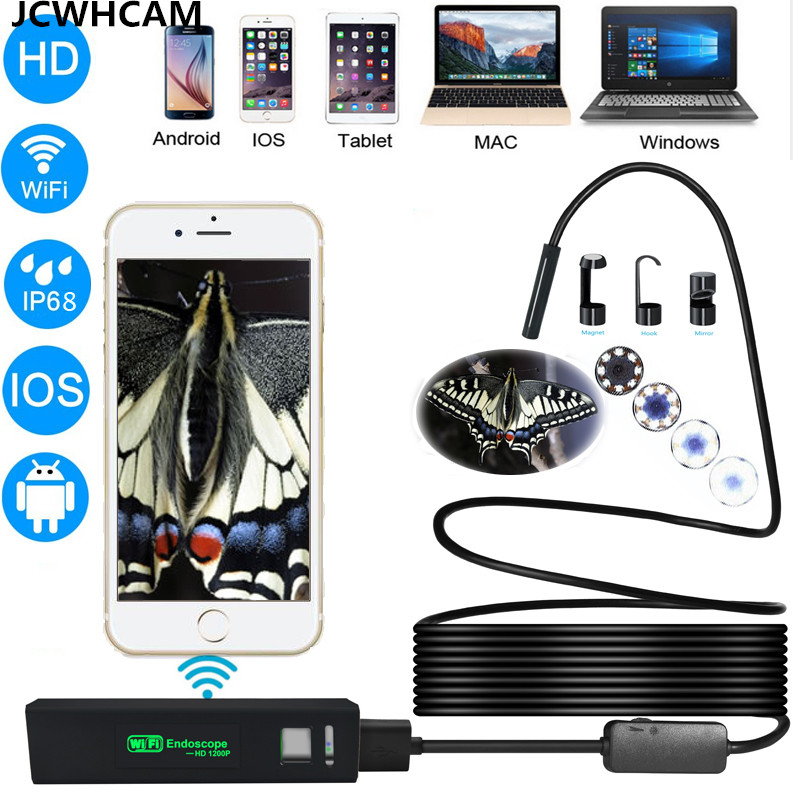 JCWHCAM Lens 8mm Wifi Usb Endoscope Inspection Borescope Snake Video Flexible Camera For IOS Android Car Detection best price jcwhcam wireless wifi transmitter for 5 5mm 7mm 8mm usb endoscope inspection camera for above android 4 4 and ios 8 0