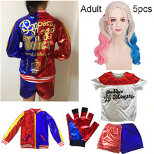 Movie Suicide Squad Harry Quince Cosplay Costume Female Jacket Batman Womens Christmas New Year Set with Gloves Wig