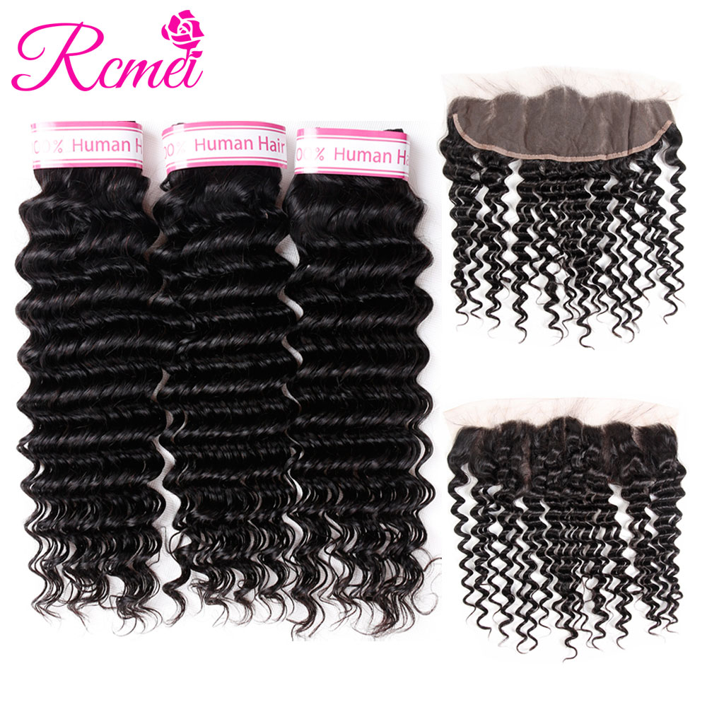 Rcmei Hair Brazilian Deep Wave Bundles With Closure Non Remy Hair Lace Frontal With Bundles Human Hair 3 Bundles With Frontal