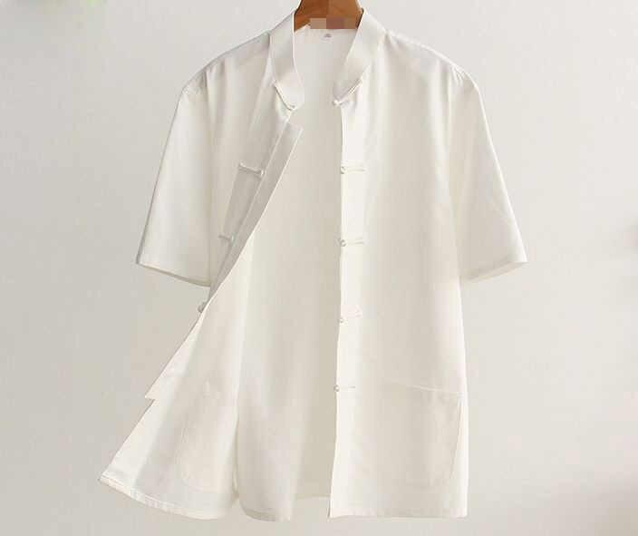 Pure katoen mannen wing chun korte mouw shirts lag kleding Zomer vechtsporten kung fu tai chi uniformen Tang suits