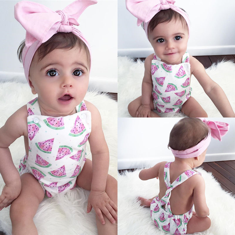 Emmababy Watermelon Bodysuits 0-24M Newborn Baby Girls Clothes Cross Cross Strap Backless Grils Jumpsuits Sunsuits Outfits