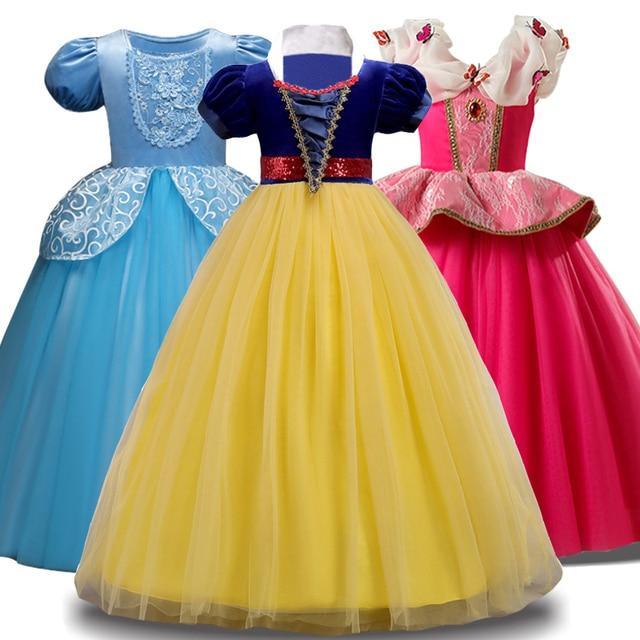 319aade149 2019 lato kopciuszek królewna śnieżka dzieci sukienki dla dziewczynek Party  księżniczka sukienka karnawał kostium dziewczyny sukienka