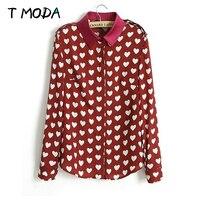 Blusas Femininas 2015 New Fashion Womens Autumn Summer Korean Red Heart Shirts Print Casual Long Sleeve