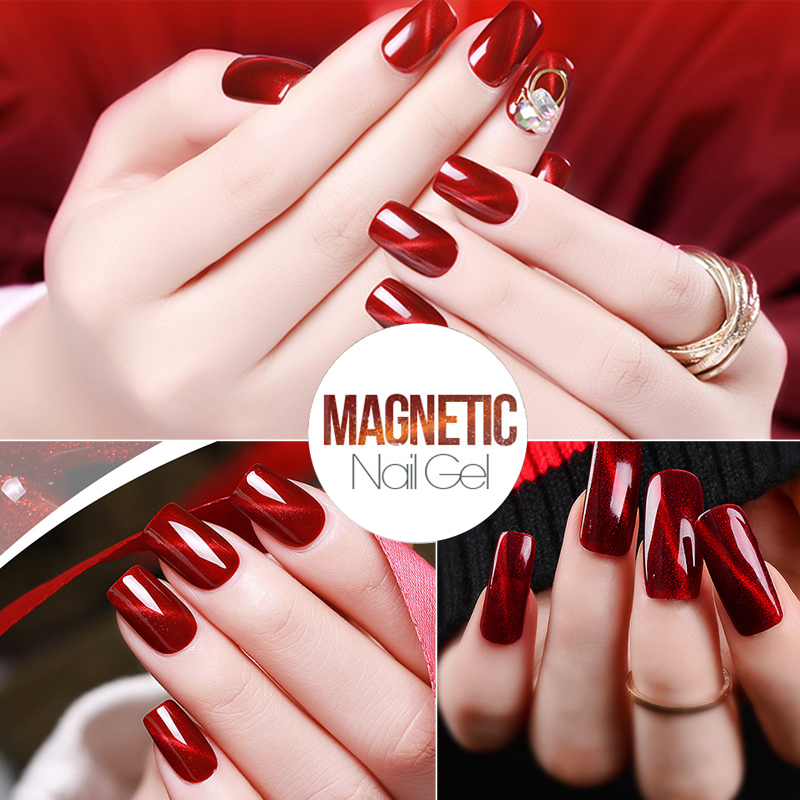 US $0 78 31% OFF|Zation New Red Flame Cat's Eye Gel Nail Polish Magnet  Light LED & UV Gel Lacquer Soak off Gold and Silver Charms Nail Gel  Polish-in