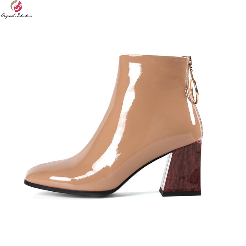 Original Intention Elegant Women Ankle Boots Leather Square Toe Square Heel Boots Black Nude Wine Red Shoes Woman US Size 3-10.5 цена