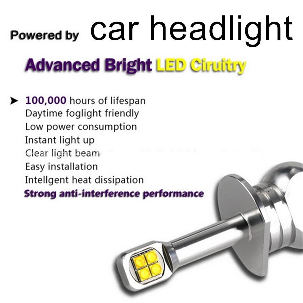 high quality one pair LED Light Car Headlights Bulbs 12V Auto Fog Lights External H1 H3 H4 H7 H11 H16 880 9005 9006 6000K 3000lm