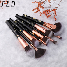 FLD 10 Pcs Professional Makeup Brush Set Full Function Foundation Eye Powder Fan Blush Brush Makeup Tools Brushes Set Kit