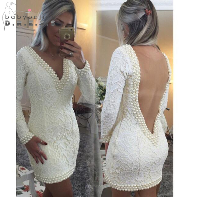 Sexy Backless Long Sleeve White Homecoming Dresses 2017 Short Tight Lace V  Neck Prom Party Dresses Pearls Vestidos De Coctel d1d039587