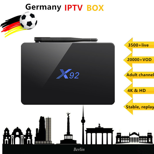 Germany IPTV Box X92 android tv box 7.1 4K with Europe portugal Spain Turkey+3500+live Adultxxx M3U PayTV VOD Smart Set top box