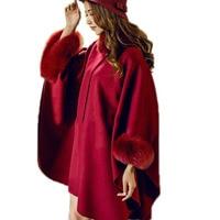 Elegant Lady's Wraps 100% Wool Fox Fur Shawl Women's Winter Warm Cape Double Sided Thicken Poncho Coat RED
