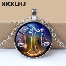 XKXLHJ New 12 Constellation Virgo, Leo, Aries, Gemini Art Picture Bump Glass Necklace Fashion Lady Lucky Necklace Jewelry stylish lucky clover constellation style pendant necklace aries
