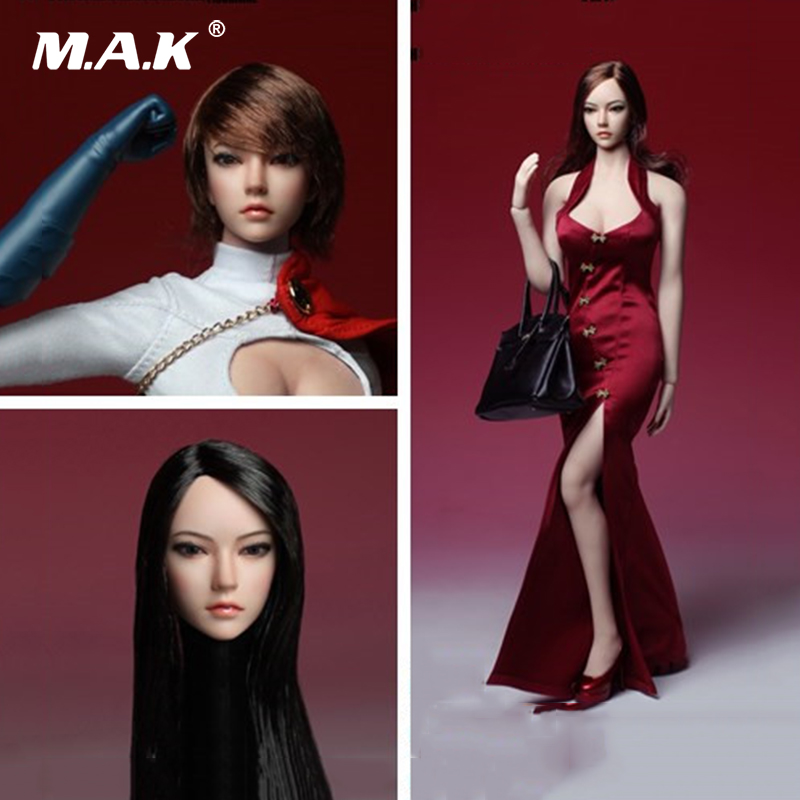 1/6 Asia Female Head Sculpt Brown Curls/ Black long Straight Hair SDH002 Fit for 12 inches Woman Phicen Pale Action Figure Body недорого