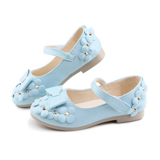 Wedding Party Floral Girls Shoes Princess Single Shoes For Girl Kids  Children Casual Fashion PU Sneakers With Flowers 10641703bccd