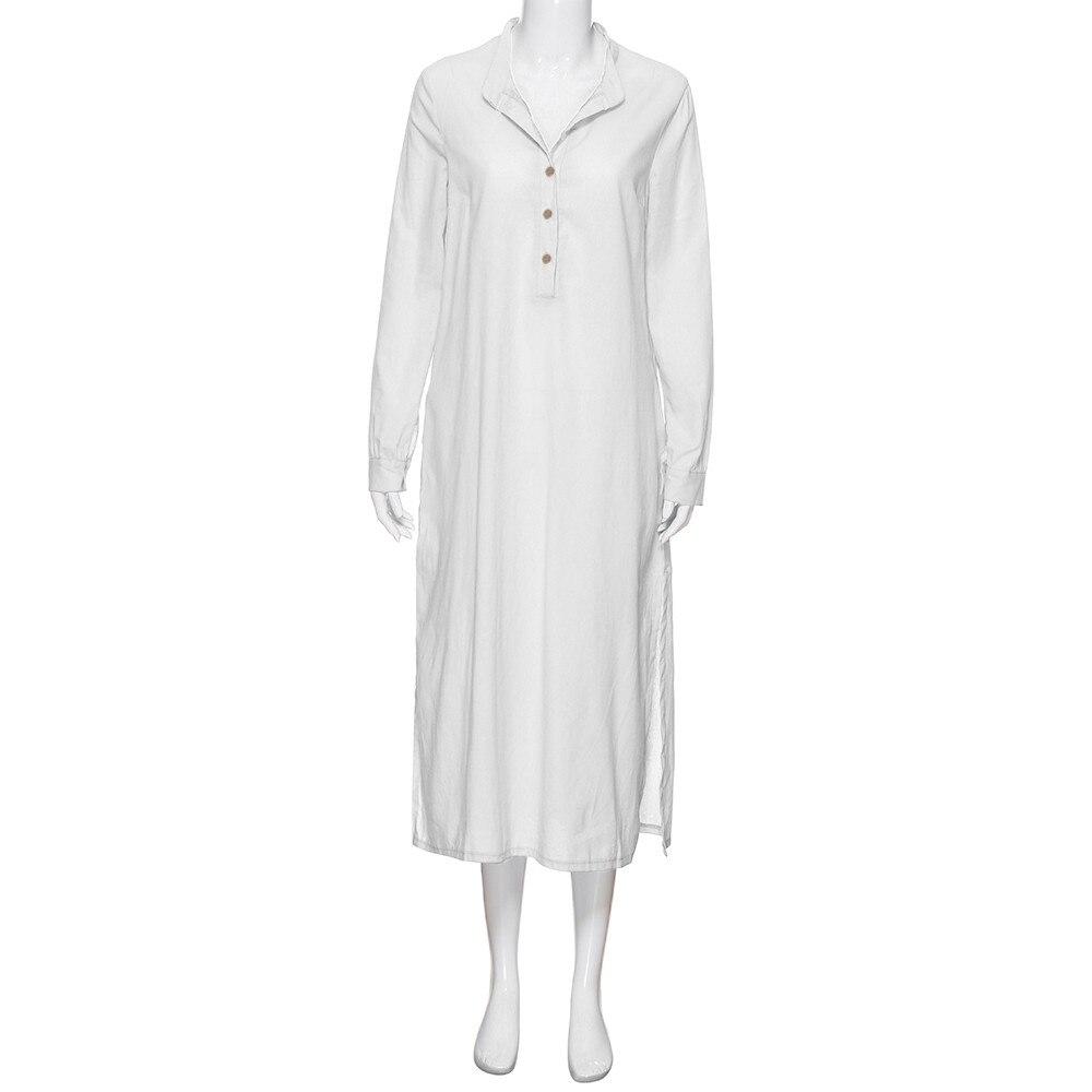 Women/'s Kaftan Cotton Long Sleeve Plain Casual Oversize Maxi Long Shirt Dress