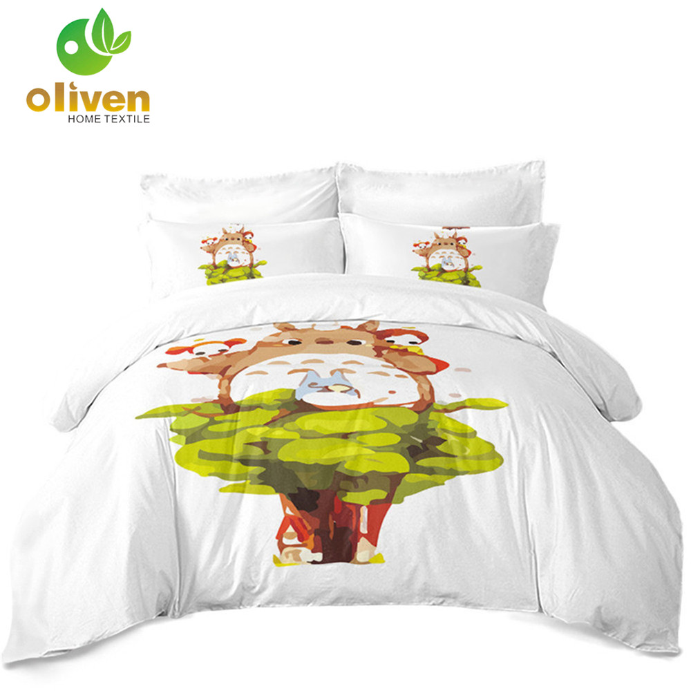 My Neighbor Totoro Bedding Set Kids Cartoon Duvet Cover Set Colorful Natural Scenery Bedding Polyester Bedclothes Home Decor D40My Neighbor Totoro Bedding Set Kids Cartoon Duvet Cover Set Colorful Natural Scenery Bedding Polyester Bedclothes Home Decor D40