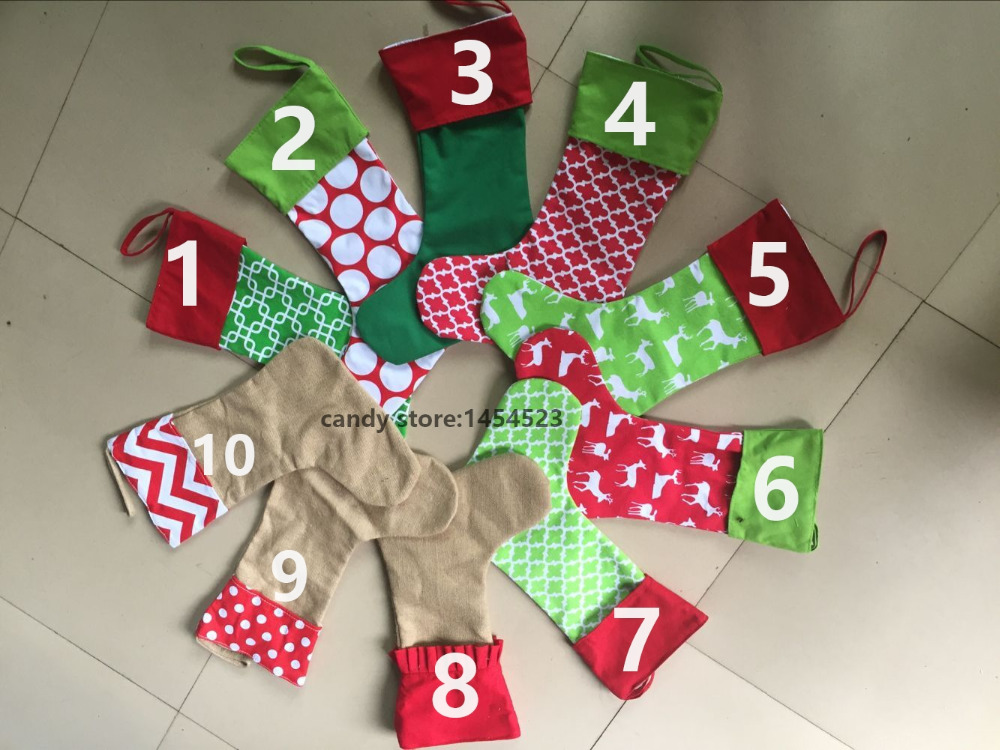 20pcslot wholesale christmas stocking tree decoration canvas cotton children candy gifts bag socks in stockings gift holders from home garden on