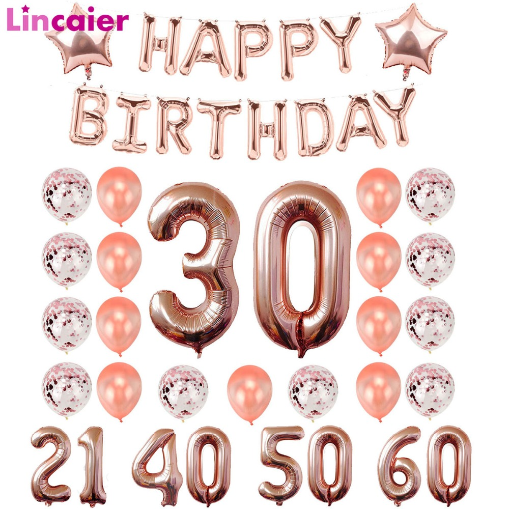 Lincaier 24pcs 1st 18 21 30 40 50 60 Happy Birthday Silver Gold Number Balloons Party Decor Adult Supplies 30th 40th 50th 60thLincaier 24pcs 1st 18 21 30 40 50 60 Happy Birthday Silver Gold Number Balloons Party Decor Adult Supplies 30th 40th 50th 60th