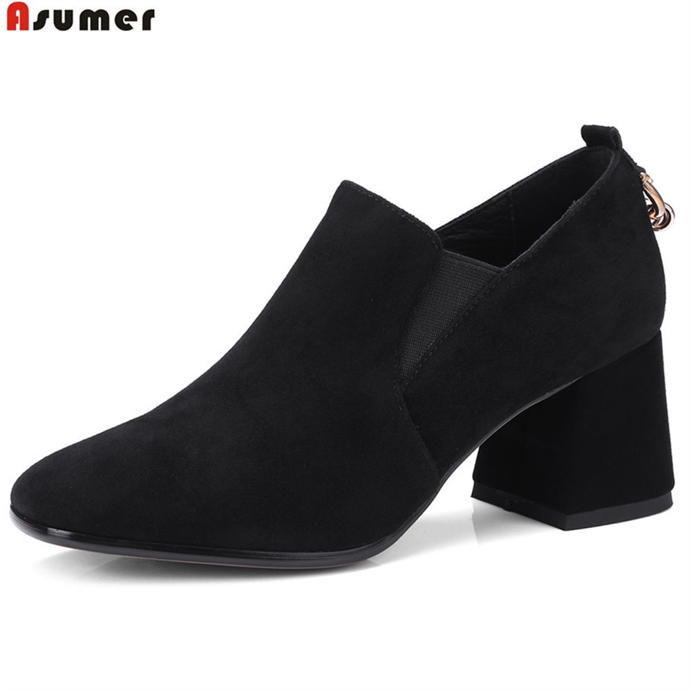 ASUMER black brown fashion spring autumn ladies shoes square toe size 40 single shoes women suede leather high heels shoes asumer beige pink fashion spring autumn shoes woman square toe casual single shoes square heel women high heels shoes