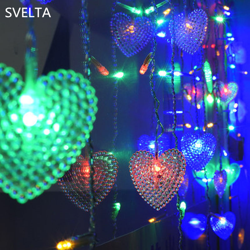 SVELTA 2M 104Bulbs 5CM Big Heart LED Luces de cortina Garland Navidad - Iluminación de vacaciones