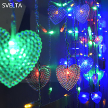 SVELTA 2M 104Bulbs 5CM Big Heart LED Curtain Lights Гарланд Рождественские светодиодные светильники для праздника Валентина свадебное украшение