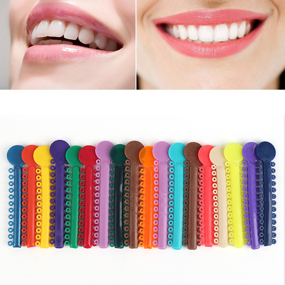 40 Pcs/Pack Oral Teeth Care Dental Ligation Ties Orthodontics Elastic Multi Color Plastic Rubber Bands Health Teeth Tools