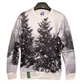 New arrival fashion Men/Women's 3d sweatshirts printed white and black winter snow forest tree hoodies S/M/L/XL