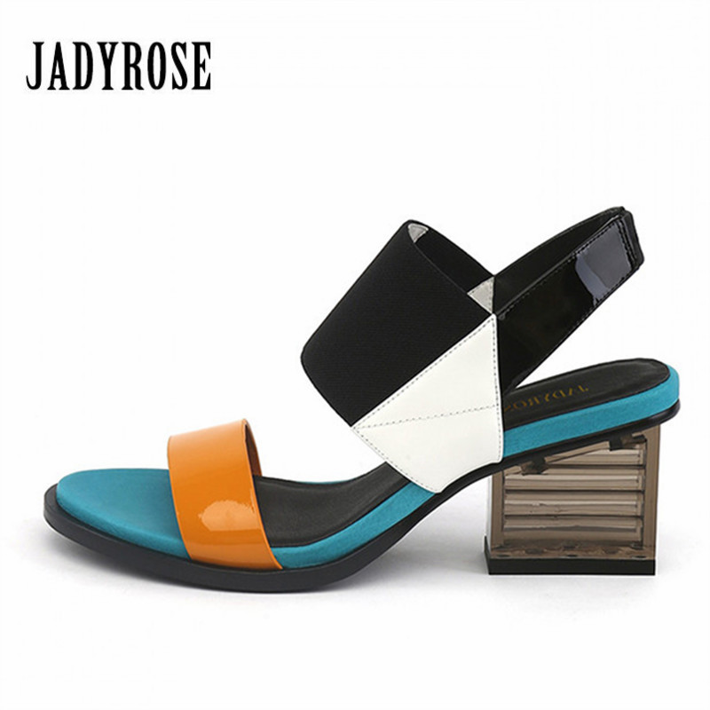 Jady Rose 2019 New Mixed Color Women's Sandals Gladiator Footwear Transparent Clear Heel Female High Heels Valentine Shoes Woman