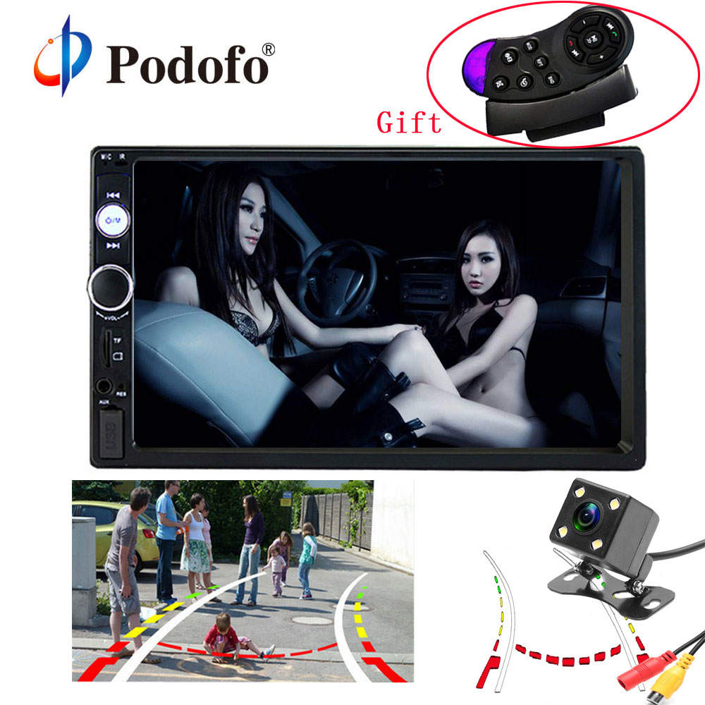 Podofo 7'' Car Radio 2Din Audio Stereo autoradio FM Bluetooth Steering Wheel Remote Control Intelligent Dynamic Reverse Camera 2 din car radio mp5 player universal 7 inch hd bt usb tf fm aux input multimedia radio entertainment with rear view camera