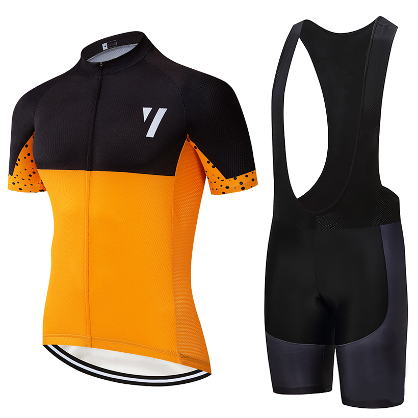 2020 New Orange Cycling jersey 20D bike shorts set Quick Dry Ciclismo clothing men summer pro Bicycle Maillot bottoms wear|Cycling Sets| |  -