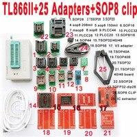 V8.11 XGecu TL866II tl866 ii Plus programmer+25 adapters socket+SOP8 clip 1.8V nand flash 24 93 25 eprom avr mcu Bios program