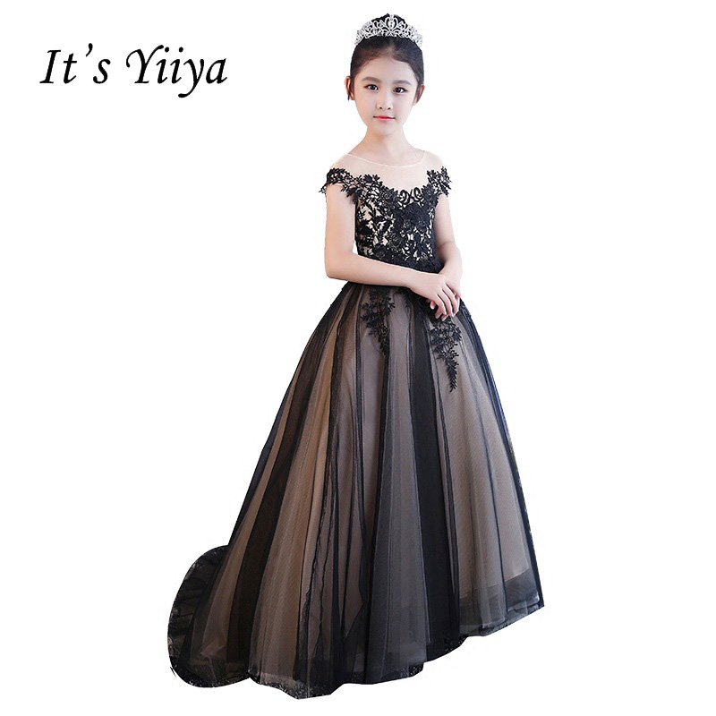 It's YiiYa Black Backless Illusion Lace Up   Flowers   Floor-length Appliques Ball Gowns Princess   Flower     Girls     Dress   Communion TS281