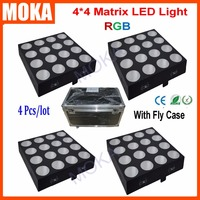 4PCS/LOT MOKA Led Stage Effect Light 16x30w 4x4 RGB 3IN1 COB LED Matrix Projector Flight Case Packing With CE RoHS Certificate