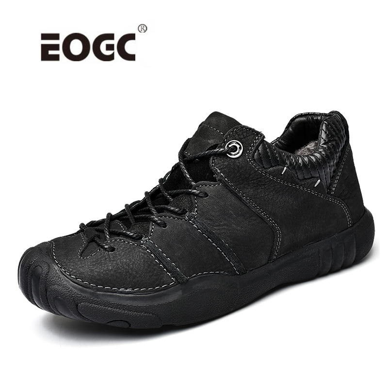 Natural Leather Casual Shoes Men Loafers Plush Fur Men Winter Shoes Breathable Comfort Outdoor Walking Shoes Zapatos