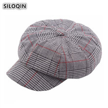 SILOQIN 2019 New Style Womens Brand Cap British Retro Plaid Newsboy Caps For Women Snapback Casual Elegant Ladys Visor Hat