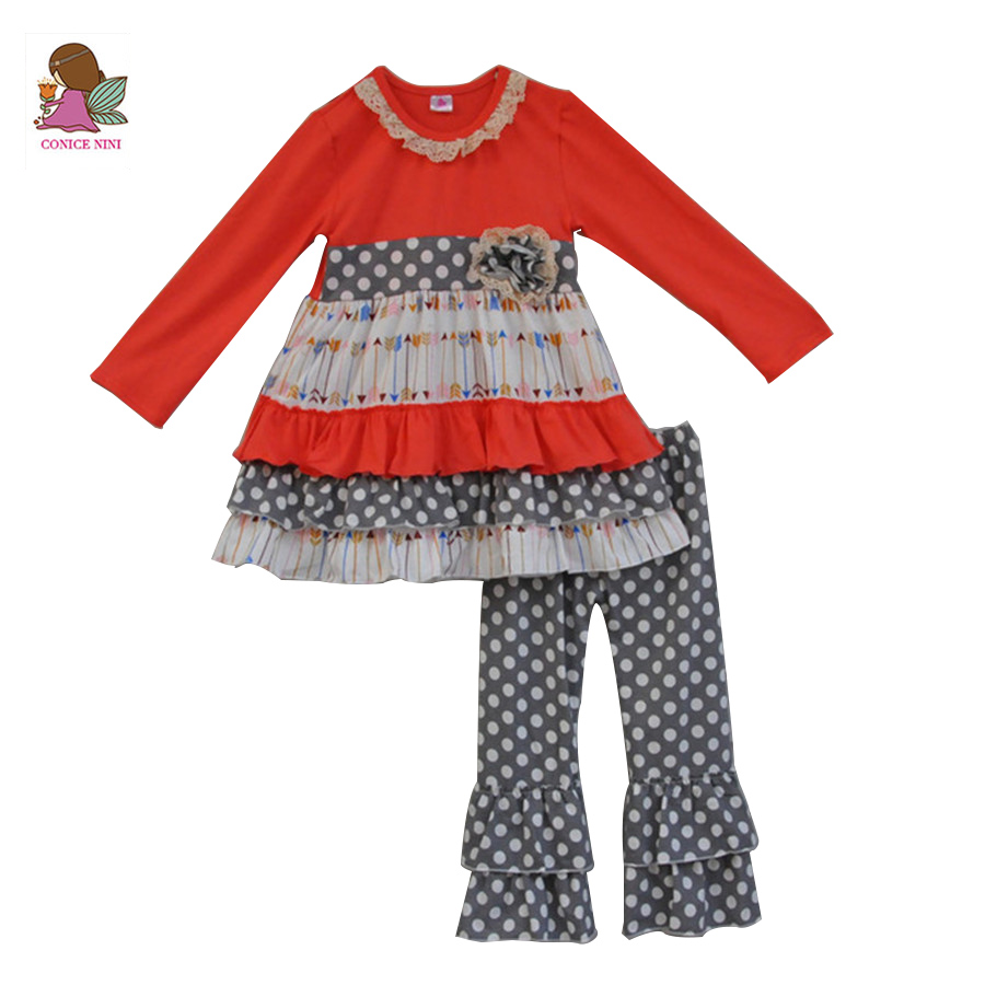 2017 Hot Sale Long Sleeve Baby Girls Boutique Outfits Cute Arrow Print Dress Polka Dots Pants Kids Ruffle Clothing Sets F097 купить недорого в Москве