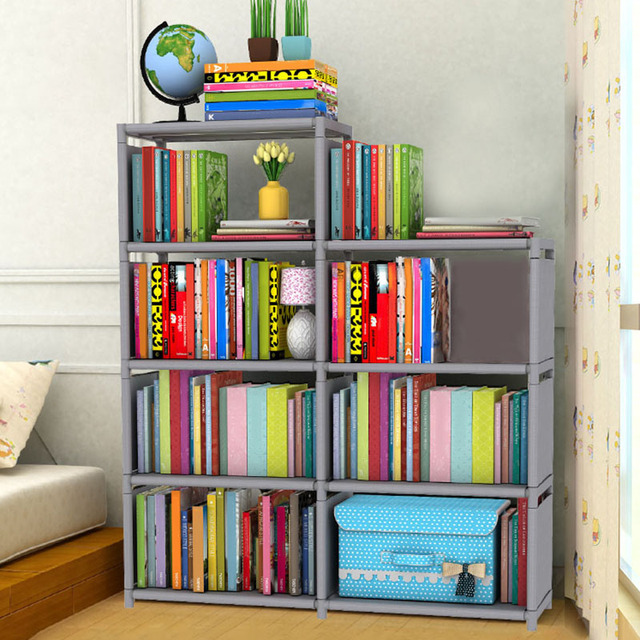 DIY Storage Rack Bookshelf Kids Wardrobe Home Books Storage Rack Students  Standing Bookshelf Space Saving
