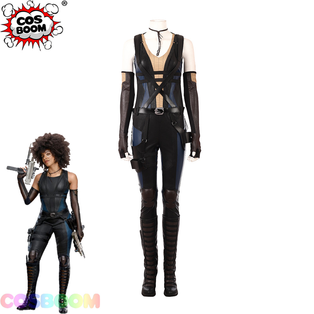 COSBOOM Deadpool 2 Domino Neena Thurman Cosplay Costume Adult Women Deadpool 2 Domino Jumpsuit Halloween Costume Custom Made
