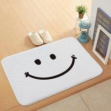 все цены на Cartoon Simple Smile Door Mats Coral Velvet Carpet Humorous Funny Words Go Away Entrance Indoor Floor Mat Non-slip Doormat Rug онлайн