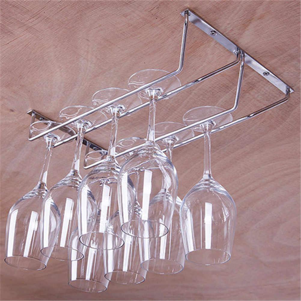 Sotto Armadio Da Cucina In Acciaio Inox Bicchiere di Vino Supporto di tazza di Vino Appeso Bere Calici Rack Under Cabinet Dell'organizzatore di Immagazzinaggio