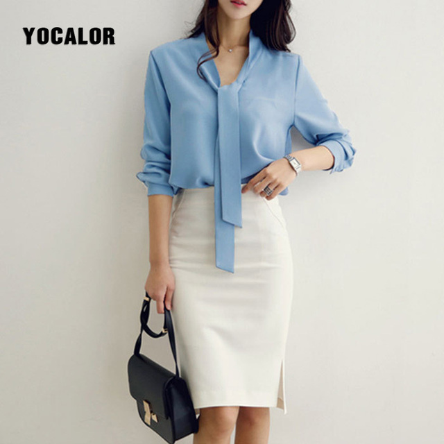 Yocalor Chiffon White Shirt Female Woman Long Sleeve Ribbon Blouse Women Tops Ladies Feminina Korean Bow