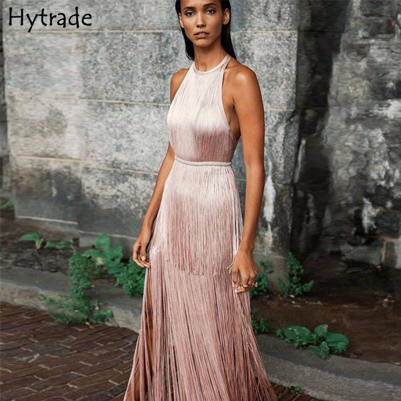 2019 New Backless Bodycon Sexy Women Evening Party Sleeveless Halter Fringe Open Back Nude Pink Prom Tassel Maxi Bandage Dress