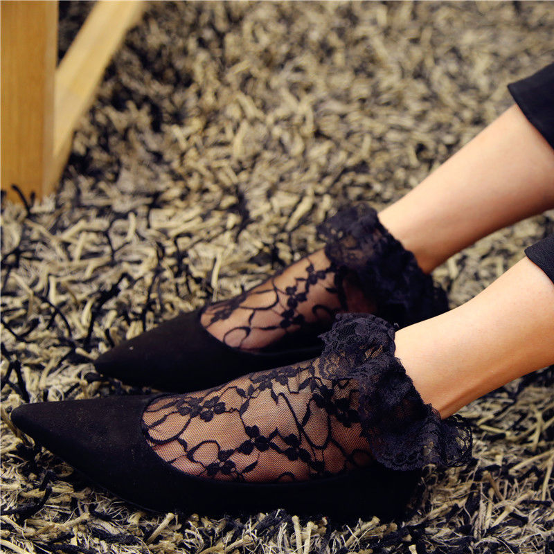Women Summer Floral Lace Ruffle Lacework Frilly Embroidered Short Ankle Socks